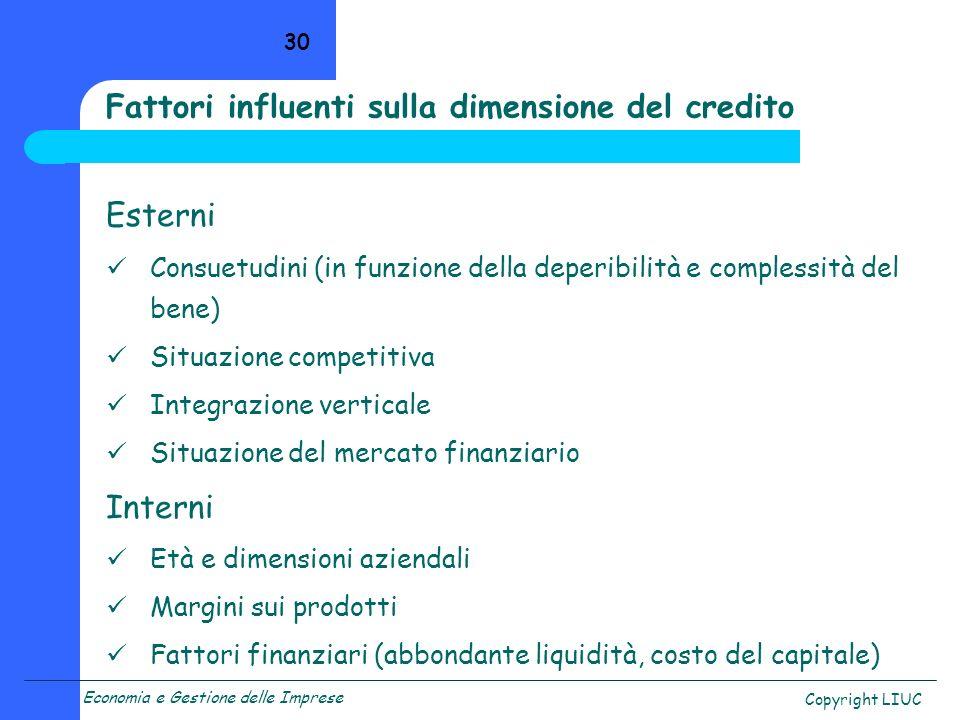 Fattori influenti sulla dimensione del credito