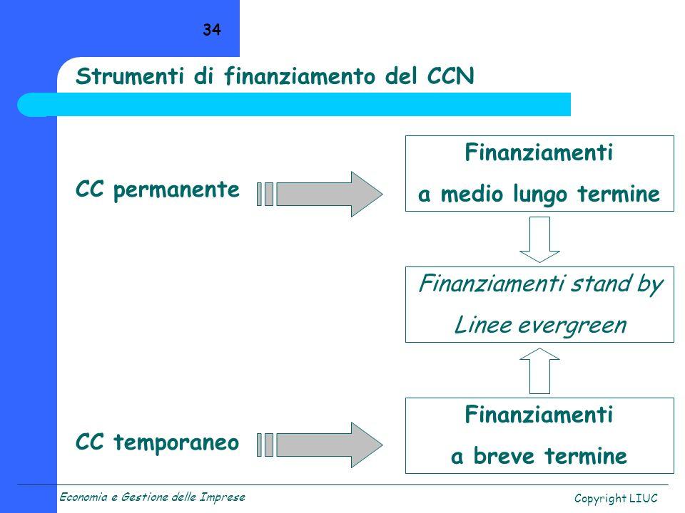 Strumenti di finanziamento del CCN