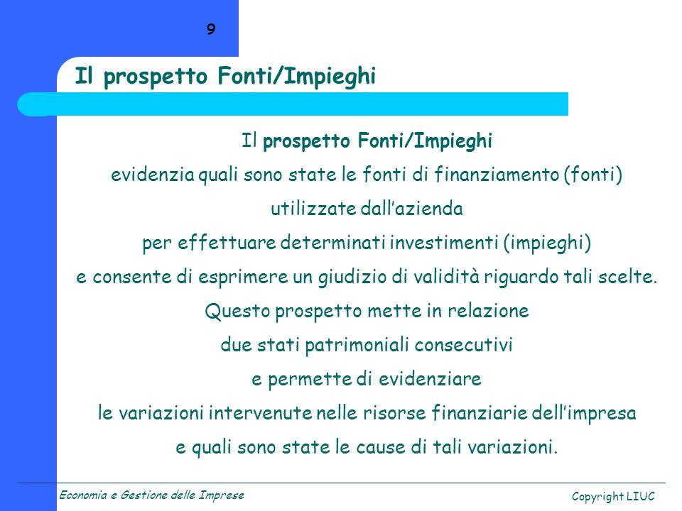 Il prospetto Fonti/Impieghi