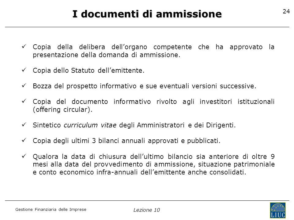 I documenti di ammissione