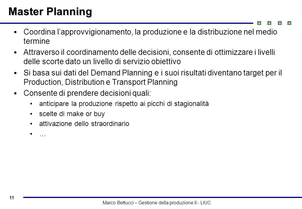Master Planning Coordina l'approvvigionamento, la produzione e la distribuzione nel medio termine.