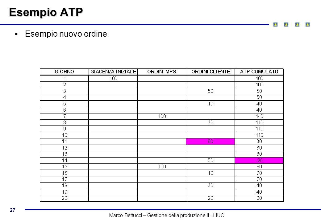 Esempio ATP Esempio nuovo ordine