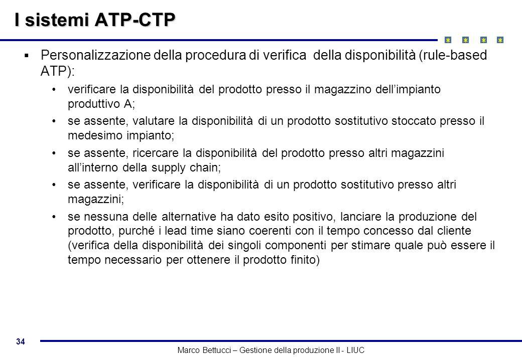 I sistemi ATP-CTP Personalizzazione della procedura di verifica della disponibilità (rule-based ATP):