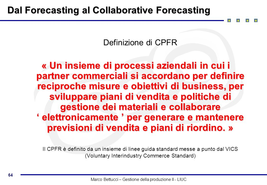 Dal Forecasting al Collaborative Forecasting