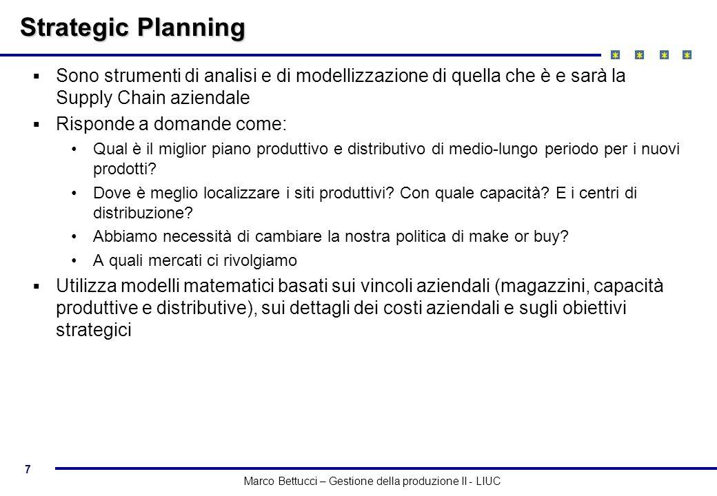 Strategic Planning Sono strumenti di analisi e di modellizzazione di quella che è e sarà la Supply Chain aziendale.