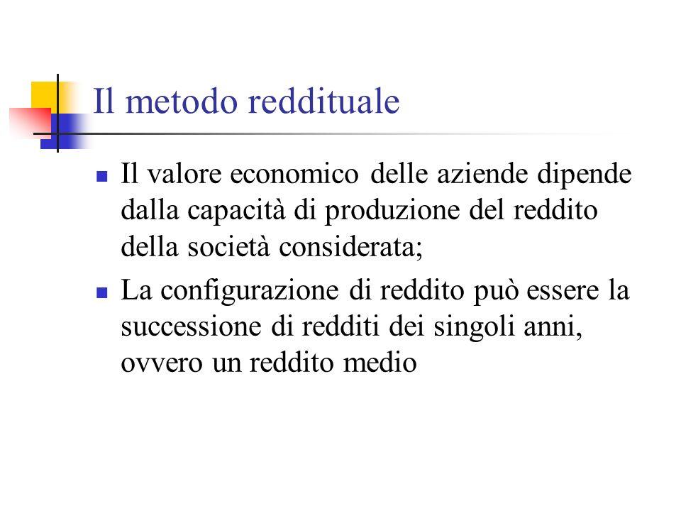 Il metodo reddituale Il valore economico delle aziende dipende dalla capacità di produzione del reddito della società considerata;