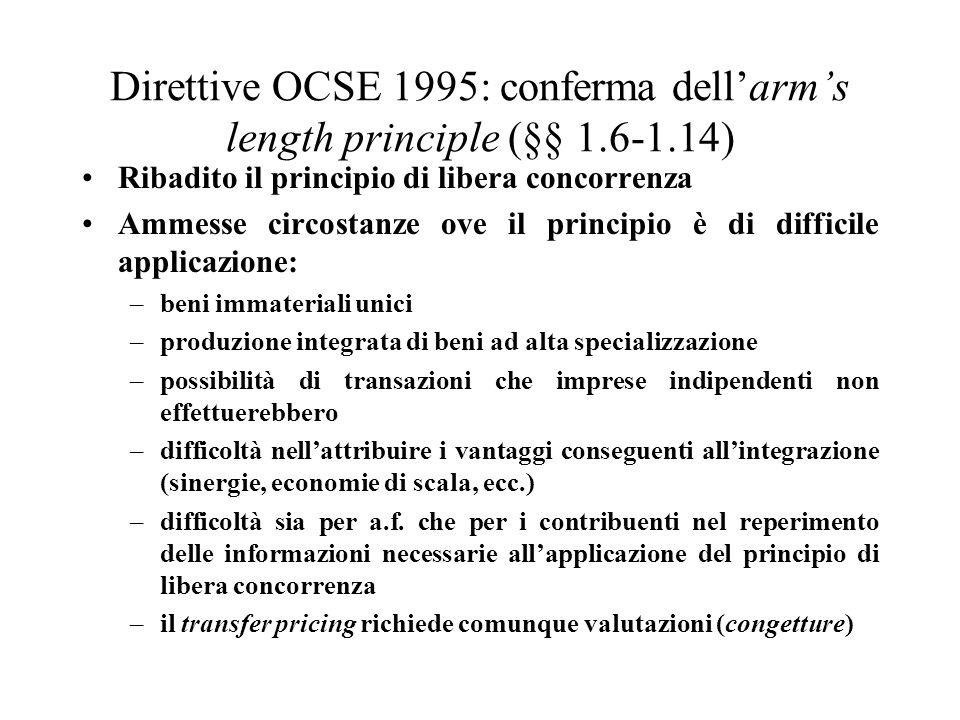 Direttive OCSE 1995: conferma dell'arm's length principle (§§ 1. 6-1