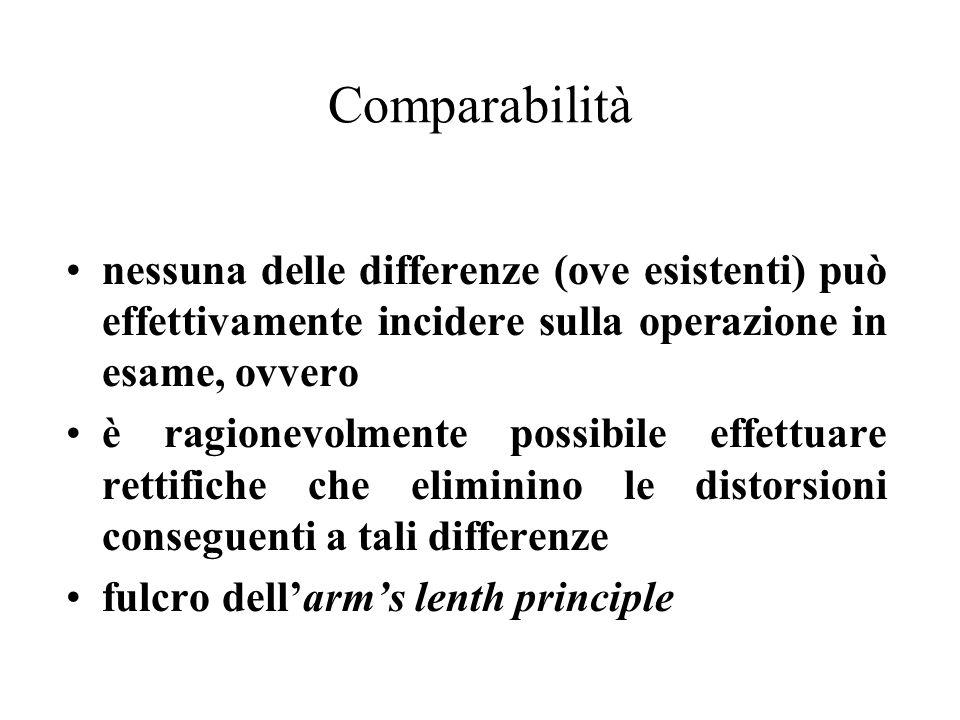 Comparabilità nessuna delle differenze (ove esistenti) può effettivamente incidere sulla operazione in esame, ovvero.
