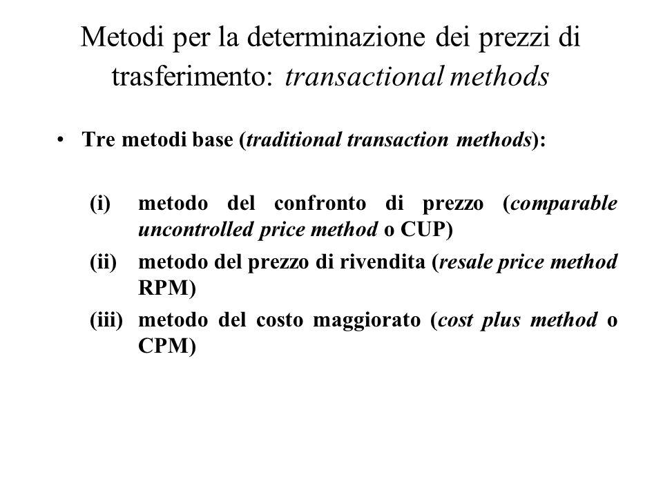 Metodi per la determinazione dei prezzi di trasferimento: transactional methods