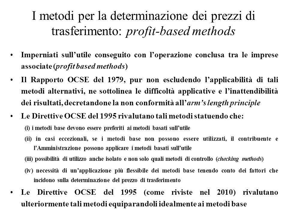 I metodi per la determinazione dei prezzi di trasferimento: profit-based methods