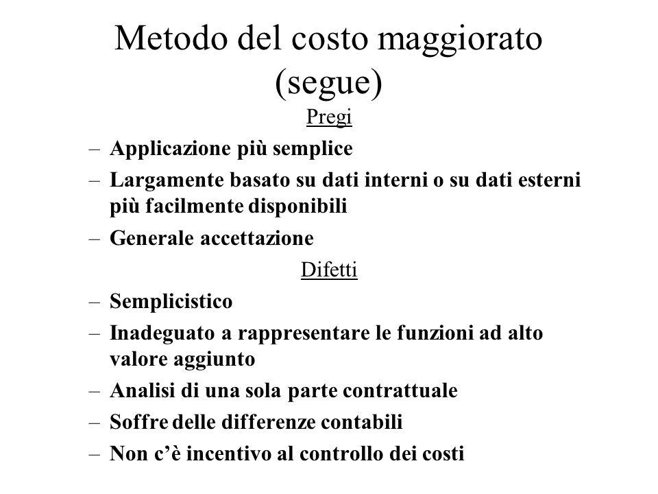 Metodo del costo maggiorato (segue)