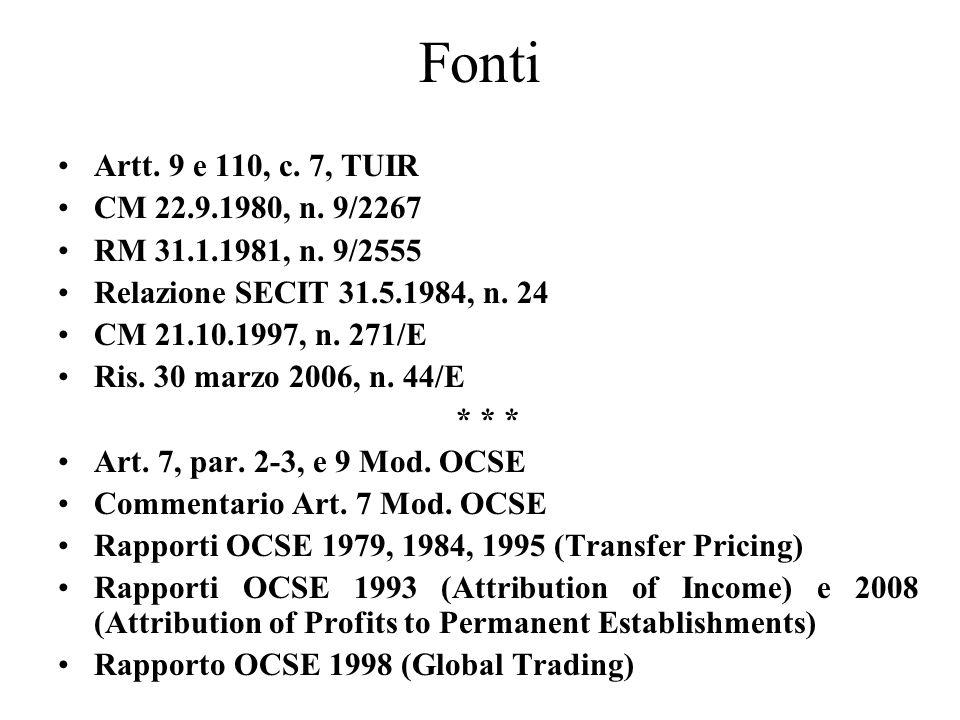 Fonti Artt. 9 e 110, c. 7, TUIR. CM 22.9.1980, n. 9/2267. RM 31.1.1981, n. 9/2555. Relazione SECIT 31.5.1984, n. 24.