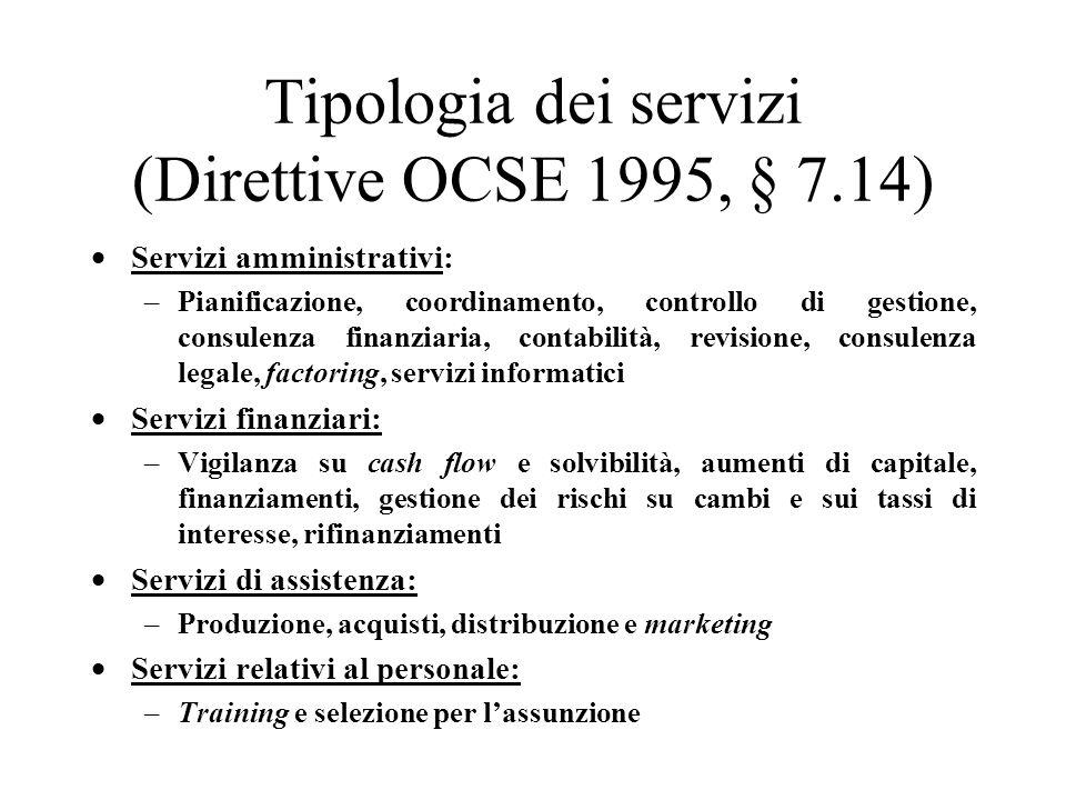Tipologia dei servizi (Direttive OCSE 1995, § 7.14)