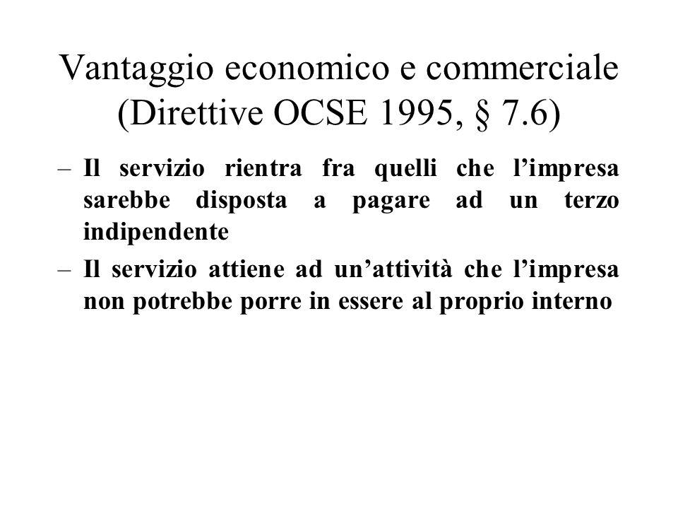 Vantaggio economico e commerciale (Direttive OCSE 1995, § 7.6)