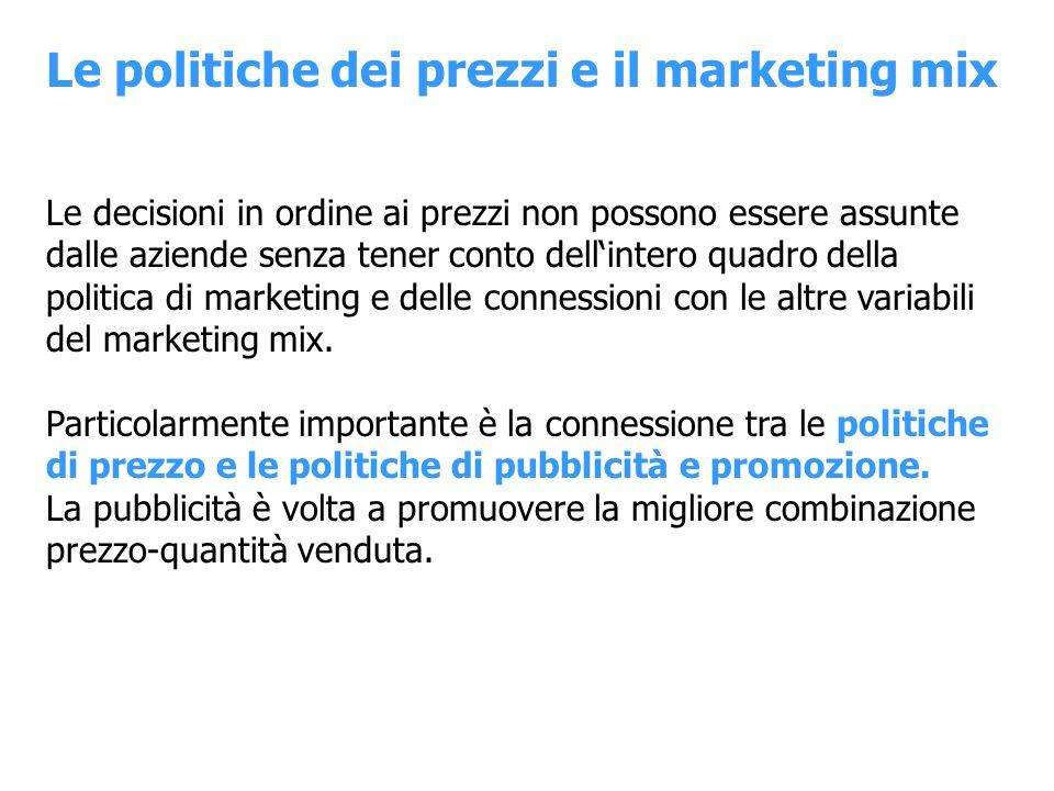 Le politiche dei prezzi e il marketing mix