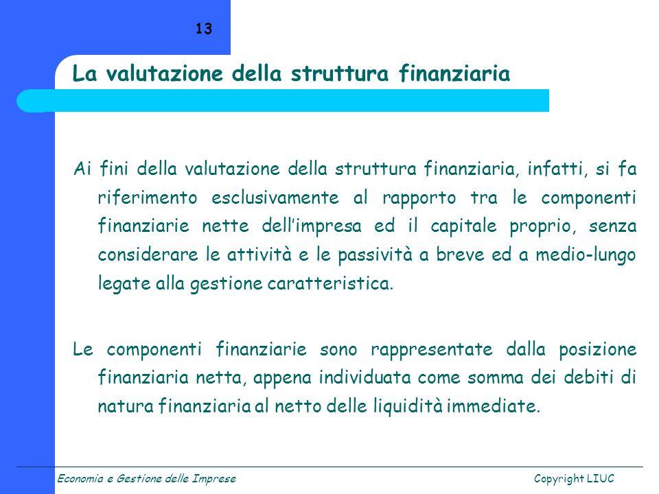 La valutazione della struttura finanziaria