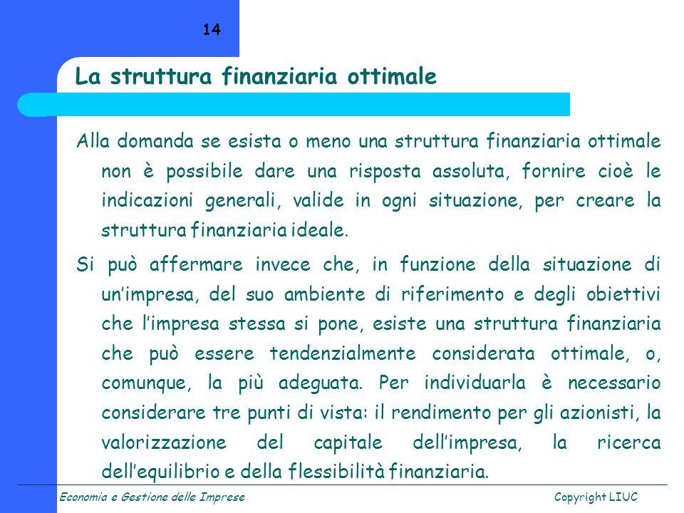 La struttura finanziaria ottimale
