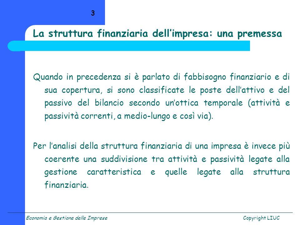 La struttura finanziaria dell'impresa: una premessa