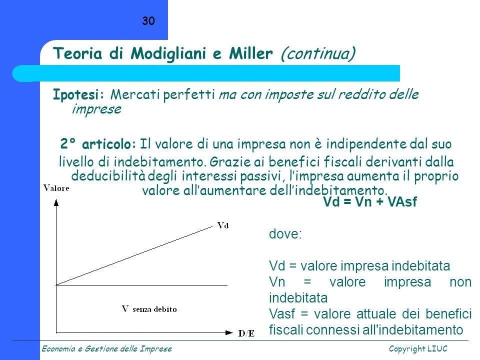 Teoria di Modigliani e Miller (continua)
