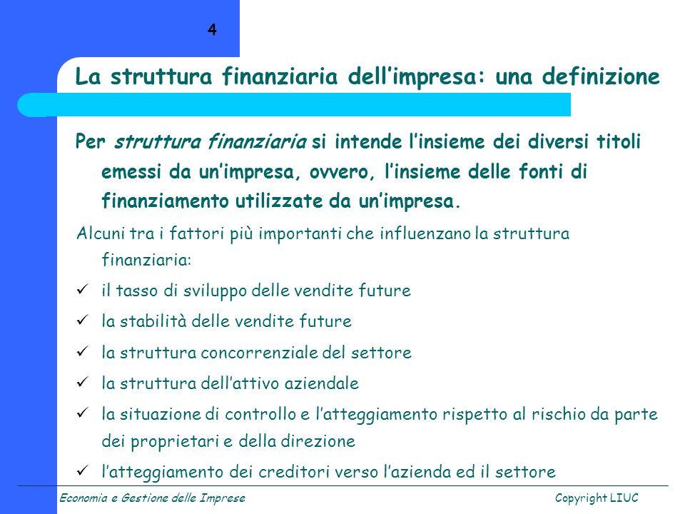 La struttura finanziaria dell'impresa: una definizione