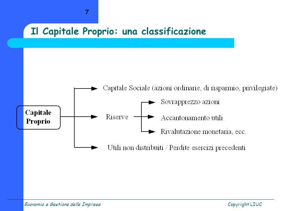 Il Capitale Proprio: una classificazione