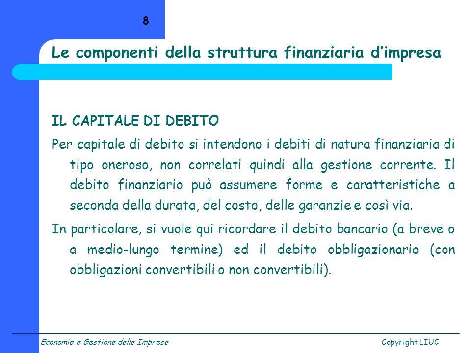 Le componenti della struttura finanziaria d'impresa
