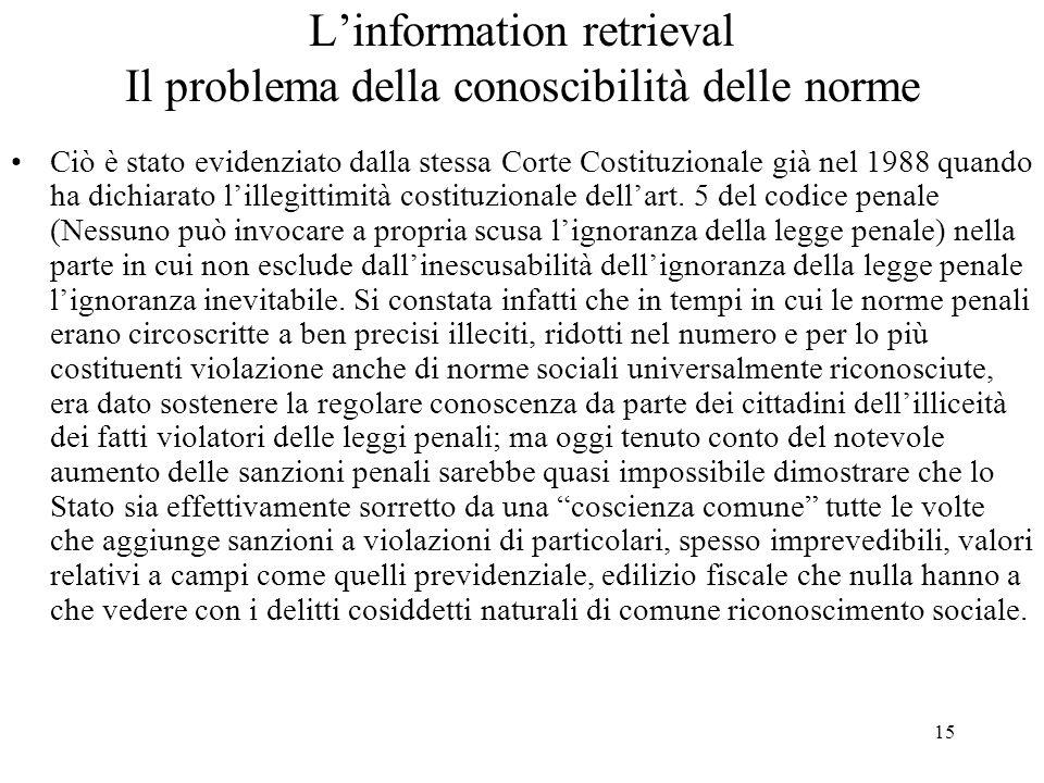 L'information retrieval Il problema della conoscibilità delle norme