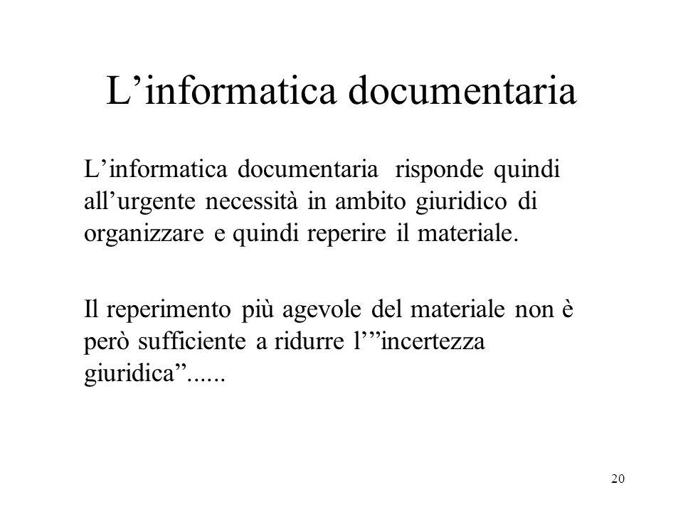 L'informatica documentaria