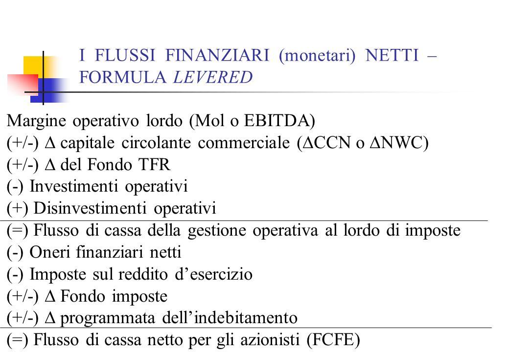 I FLUSSI FINANZIARI (monetari) NETTI – FORMULA LEVERED