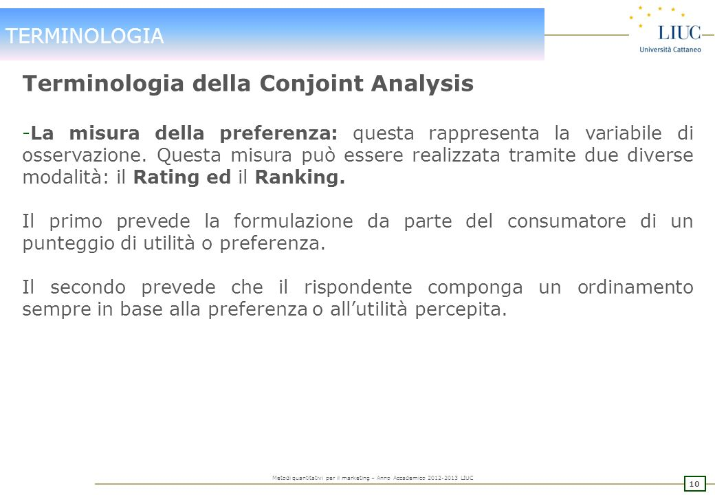 Terminologia della Conjoint Analysis