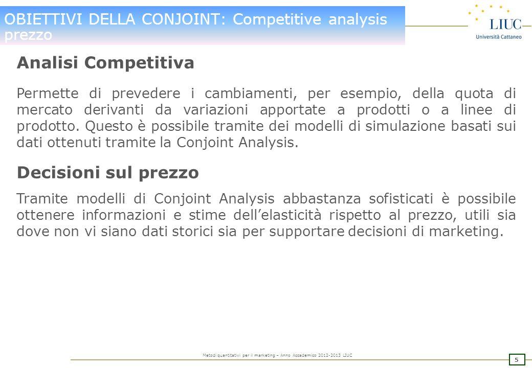 OBIETTIVI DELLA CONJOINT: Competitive analysis prezzo