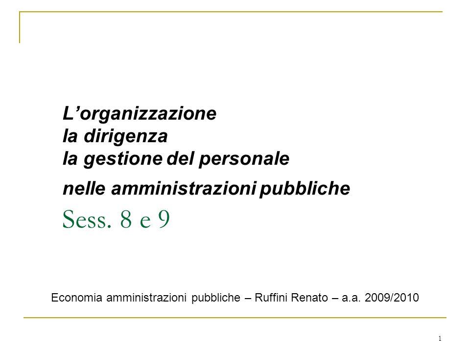 L'organizzazione la dirigenza la gestione del personale nelle amministrazioni pubbliche Sess. 8 e 9