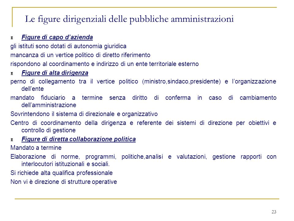 Le figure dirigenziali delle pubbliche amministrazioni