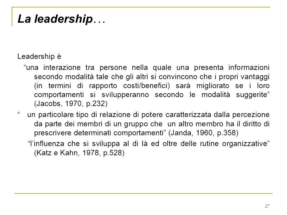La leadership… Leadership è