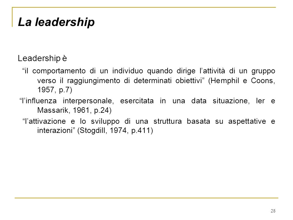 La leadership Leadership è