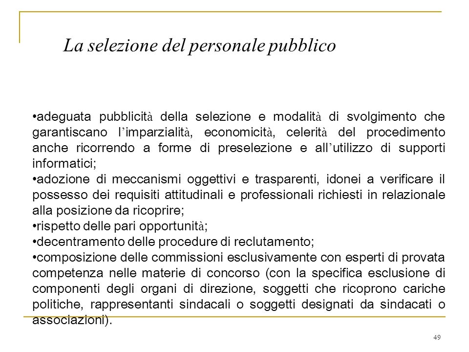 La selezione del personale pubblico