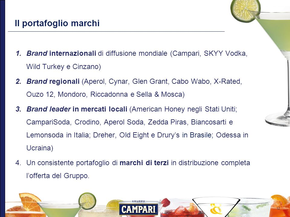 Il portafoglio marchi Brand internazionali di diffusione mondiale (Campari, SKYY Vodka, Wild Turkey e Cinzano)
