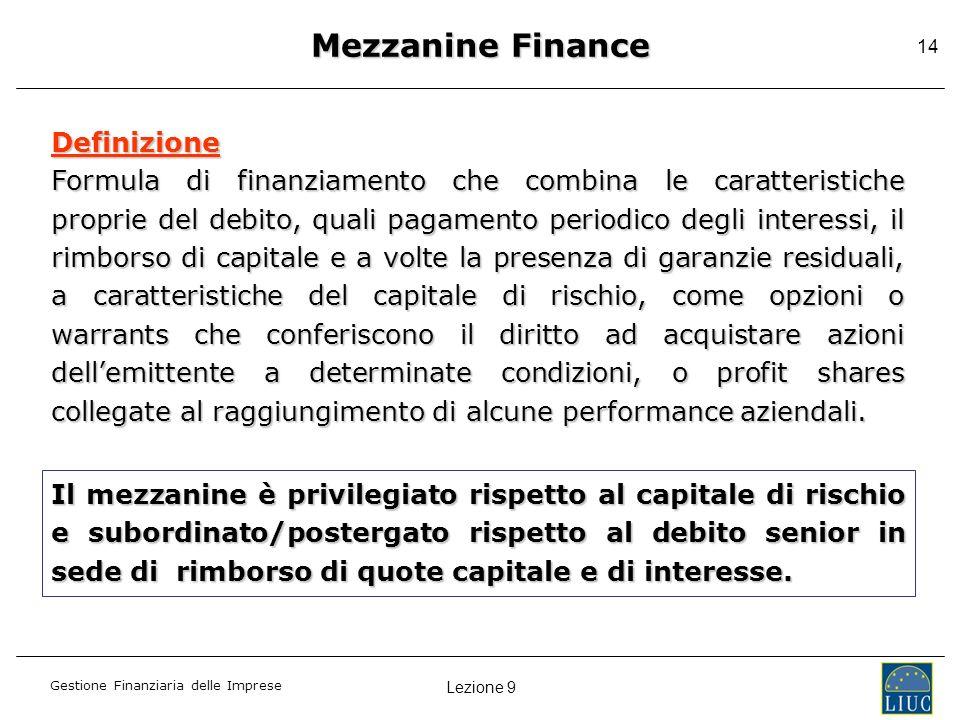 Mezzanine Finance Definizione