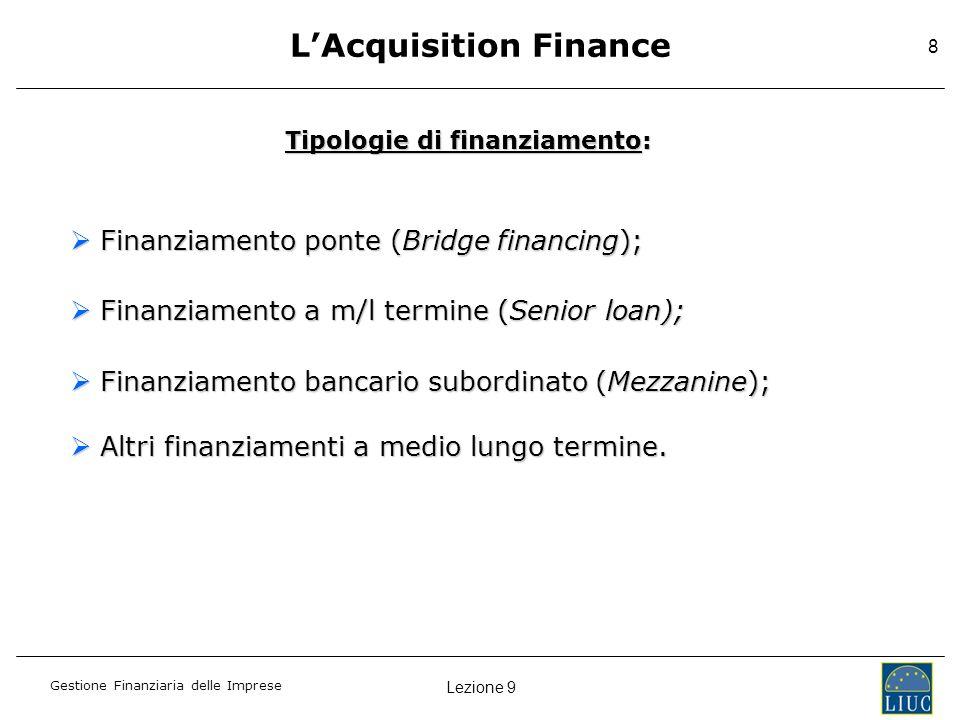 L'Acquisition Finance Tipologie di finanziamento: