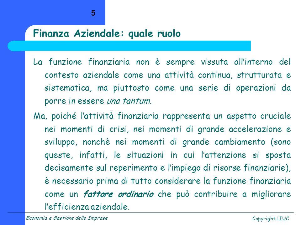 Finanza Aziendale: quale ruolo