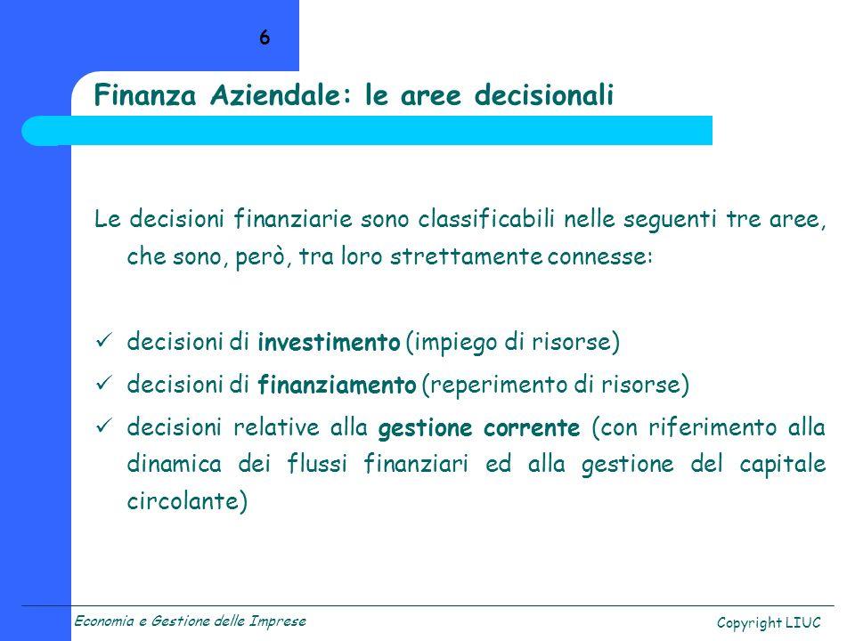 Finanza Aziendale: le aree decisionali