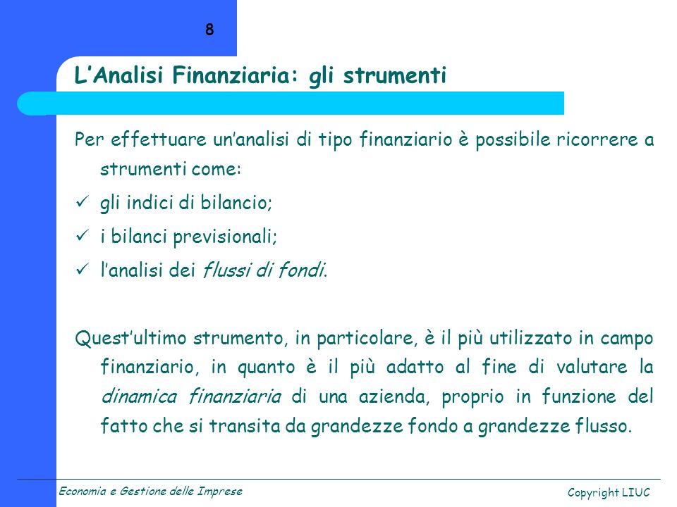 L'Analisi Finanziaria: gli strumenti