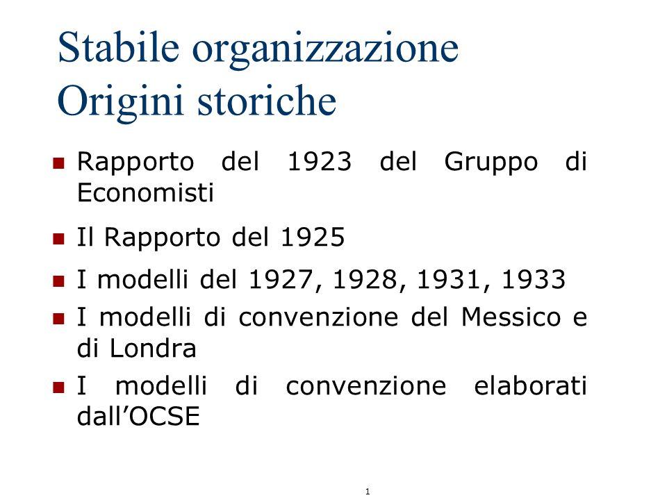 Stabile organizzazione Origini storiche