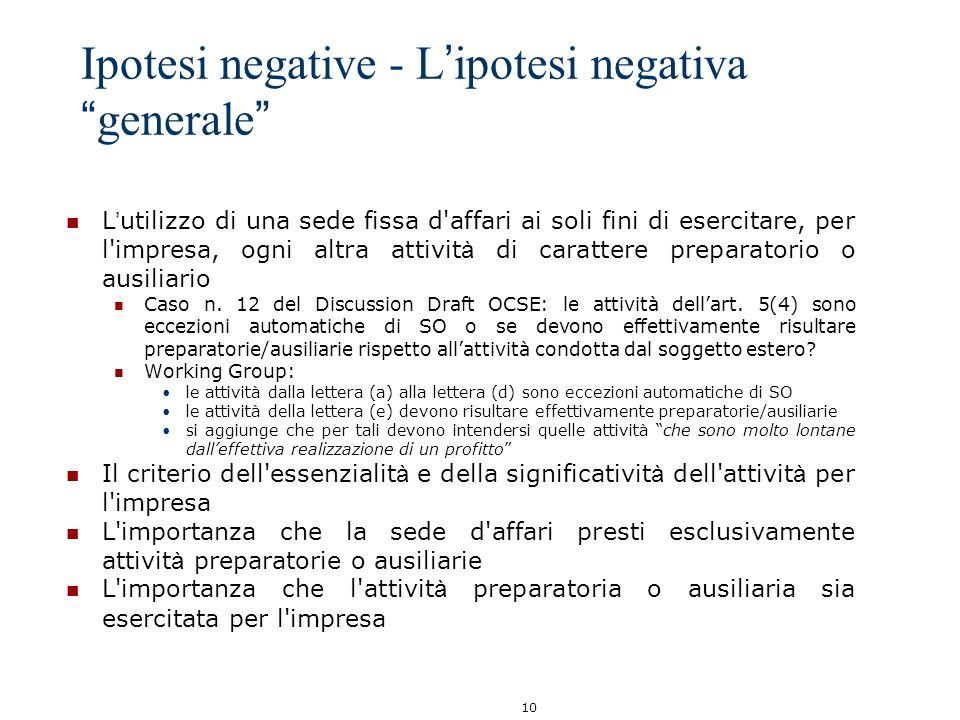 Ipotesi negative - L'ipotesi negativa generale