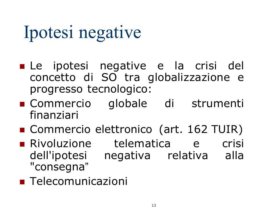 Ipotesi negative Le ipotesi negative e la crisi del concetto di SO tra globalizzazione e progresso tecnologico: