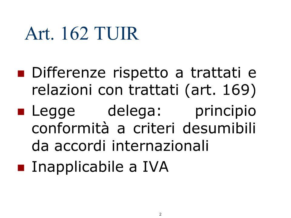 Art. 162 TUIR Differenze rispetto a trattati e relazioni con trattati (art. 169)
