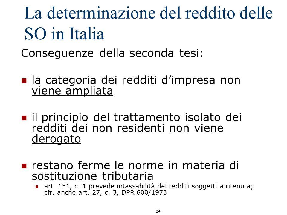 La determinazione del reddito delle SO in Italia