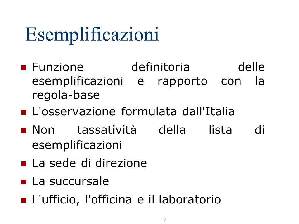 Esemplificazioni Funzione definitoria delle esemplificazioni e rapporto con la regola-base. L osservazione formulata dall Italia.