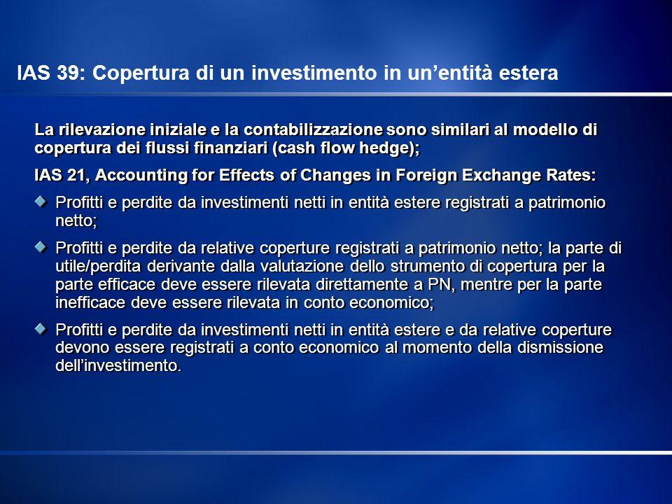 IAS 39: Copertura di un investimento in un'entità estera