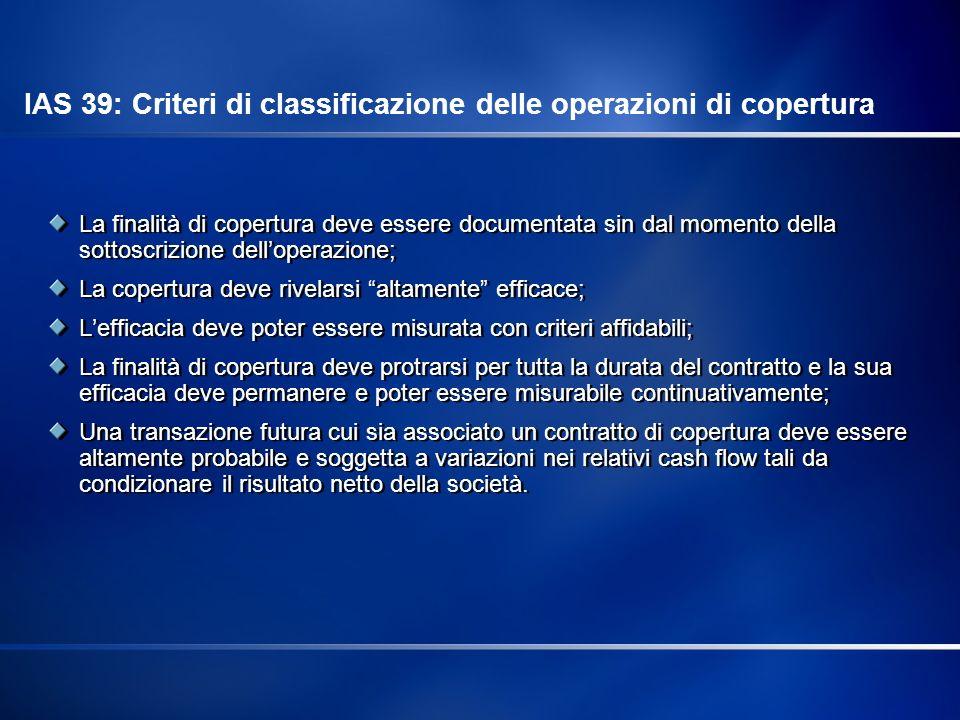 IAS 39: Criteri di classificazione delle operazioni di copertura